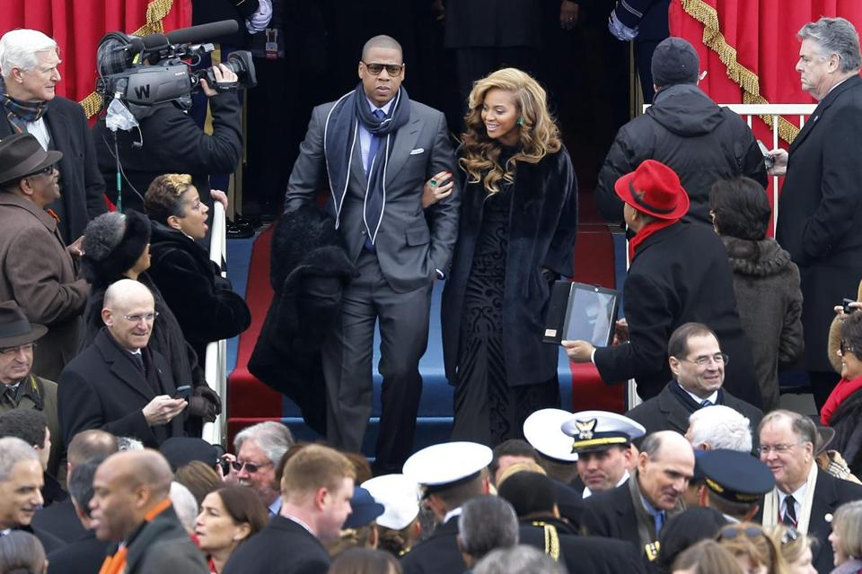 Jay-Z and Beyonce arrived at the presidential inauguration.