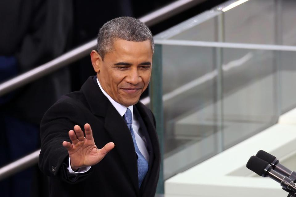 President Obama waved before speaking during the presidential inauguration.