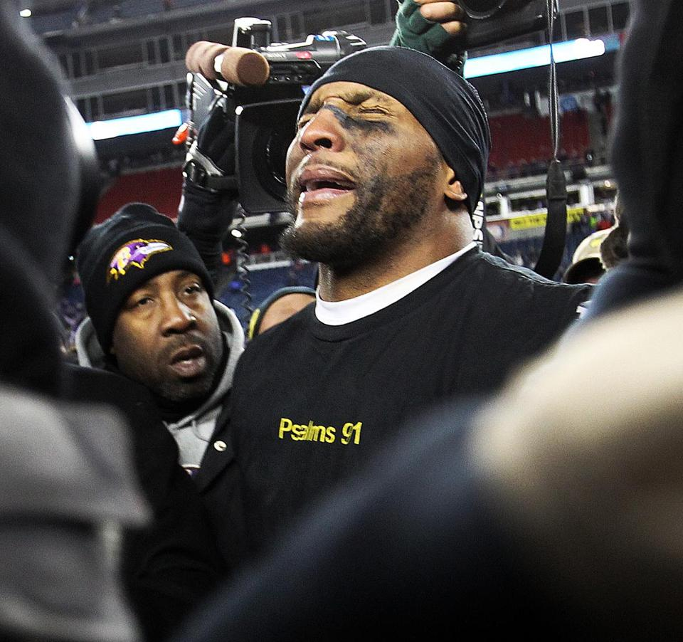 Ray Lewis was overcome by emotion after his Ravens had secured their second Super Bowl trip in 12 seasons.