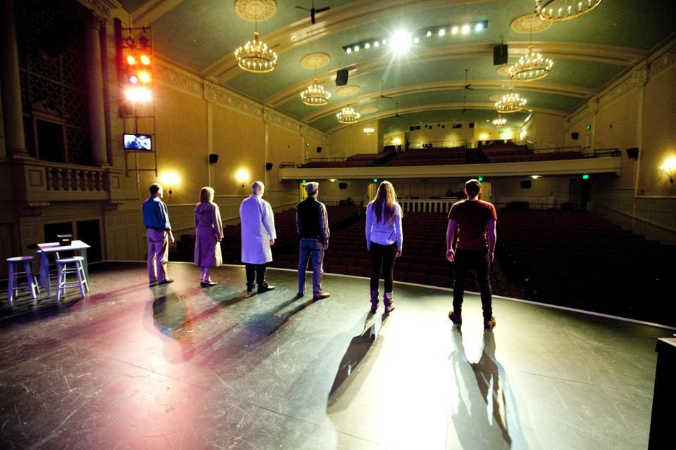 """Next to Normal'' cast members rehearsed a scene before last weekend's performances on the revamped Norwood Theatre stage."