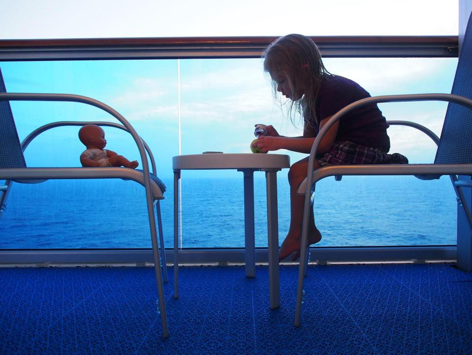 The author's daughter, Grace Wright, 3, at her own afternoon tea on the Crown Princess.