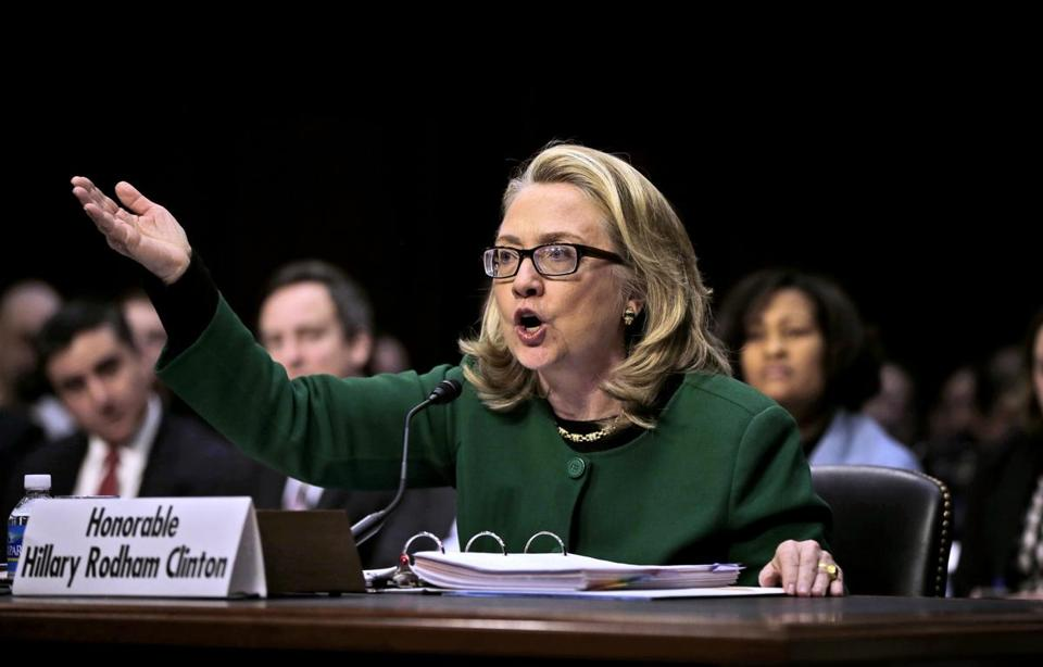 Secretary of State Hillary Rodham testifies on Capitol Hill in Washington, Wednesday, Jan. 23, 2013, before the Senate Foreign Relations Committee hearing on the deadly September attack on the U.S. diplomatic mission in Benghazi, Libya, that killed Ambassador Chris Stevens and three other Americans. (AP Photo/Pablo Martinez Monsivais)