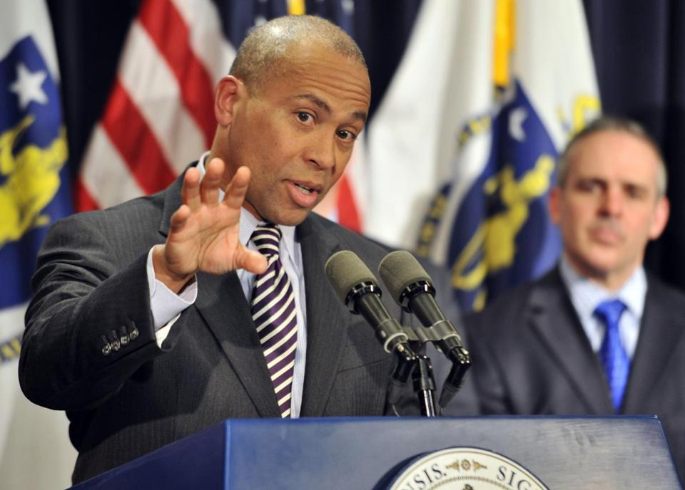 Governor Deval Patrick's budget plan includes no cuts, raises taxes, increases spending across state government.