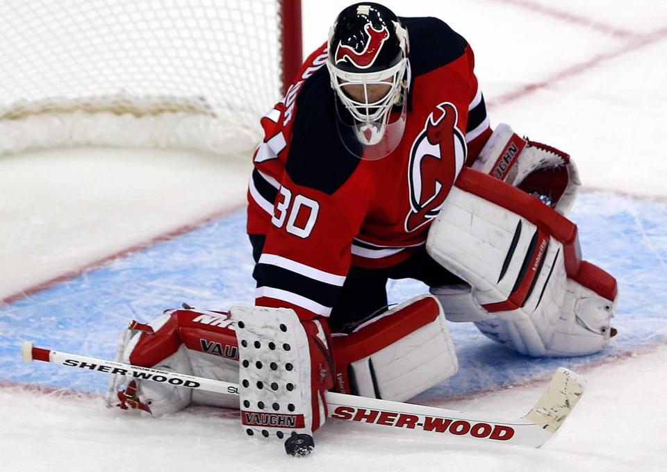 New Jersey's Martin Brodeur makes a save, one of the 24 that he made in the victory.
