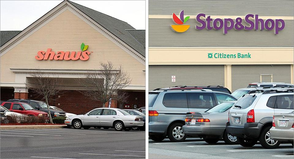 Contrasting scenes at a Shaw's in Plymouth and at a nearby Stop & Shop.