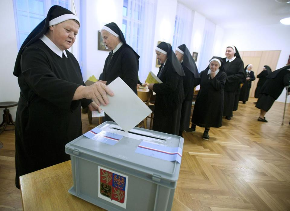 Nuns cast their ballots Friday in the second round of the Czech presidential election.