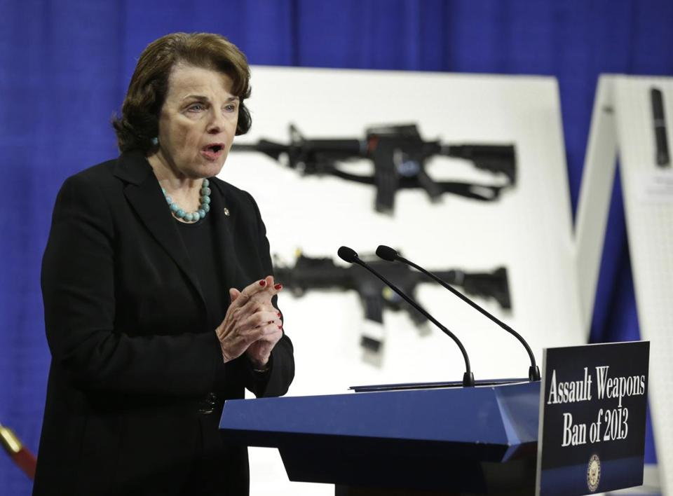 Senator Dianne Feinstein of California spoke during a news conference in Washington, D.C., on Thursday that introduced legislation banning assault weapons and high-capacity ammunition feeding devices. Feinstein championed a similar assault gun ban that became law in 1994 but expired a decade later.