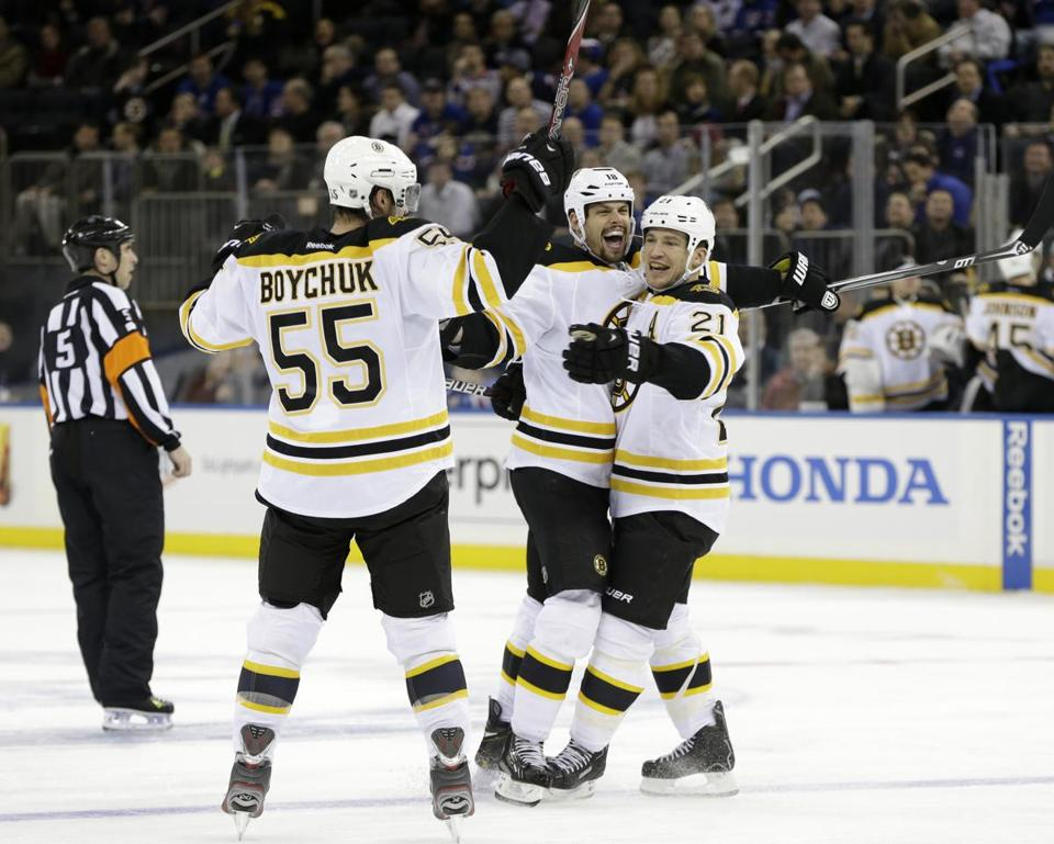 Nathan Horton (center) was a happy man after scoring his first goal in more than a year, tying Wednesday's game at 3.