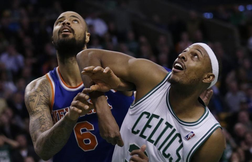 Boston's Paul Pierce, right, and Tyson Chandler battled during the second half.
