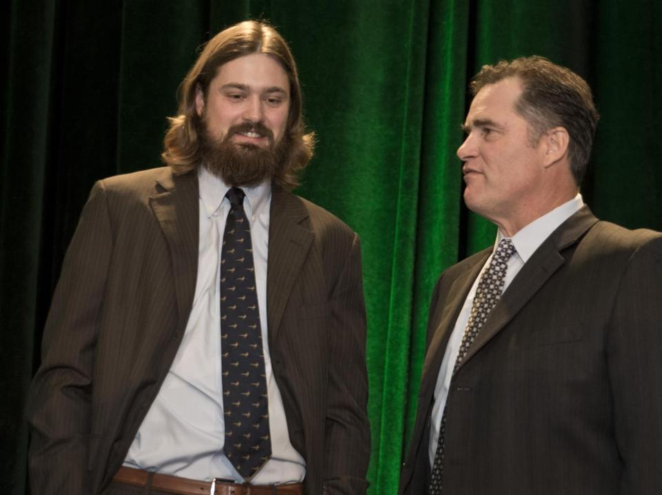 Andrew Miller, the Sox' reliever of the year in 2012, chats with John Farrell prior to the Baseball Writers dinner.