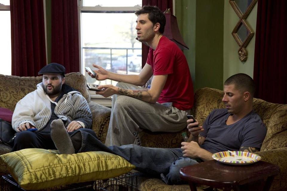 "Above (from left): Devin, Matt, and Jonathan in A&E's ""Southie Rules."""