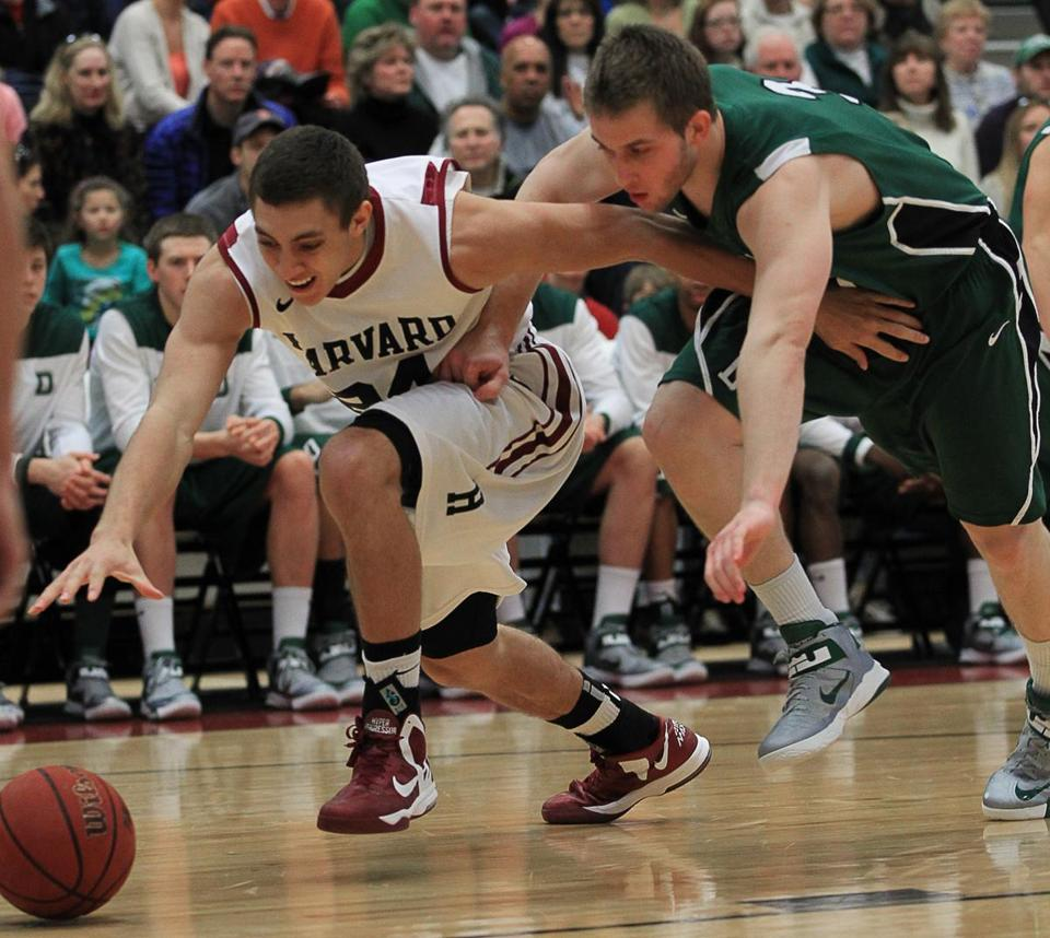 Harvard's Jonah Travis has a step on Connor Boehm of Dartmouth as they scramble for a loose ball.