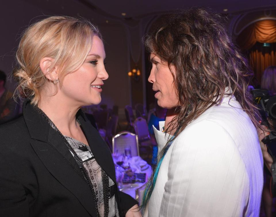 Kate Hudson with Steven Tyler at the voice institute benefit.