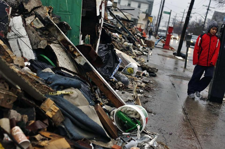 Debris from Hurricane Sandy in October lined a street in the Rockaways section of New York's Queens borough.