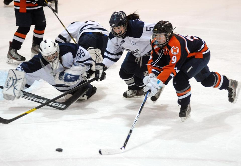 Walpole High's Jenna Donohue races Framingham skater Cassie McKinnon and goalie Ashley Castriotta for the puck during their game last weekend, a 4-0 win for the Rebels.