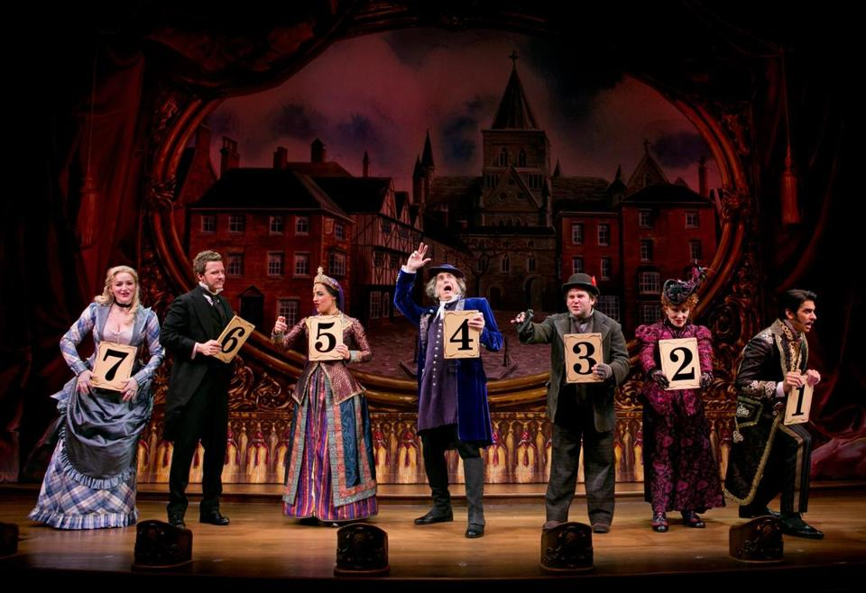 "From left: Betsy Wolfe, Will Chase, Jessie Mueller, Gregg Edelman, Robert Creighton, Chita Rivera, and Andy Karl in ""The Mystery of Edwin Drood"" at Studio 54."