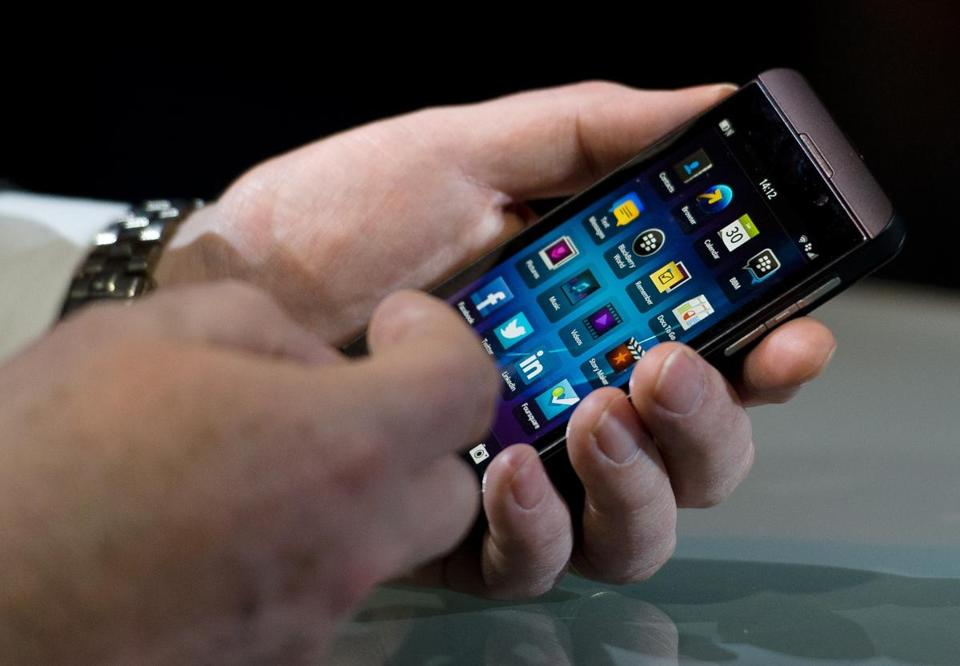 The new touchscreen Z10 Blackberry device was unveiled in central London one of eight simultaneous worldwide events for the launch Wednesday.