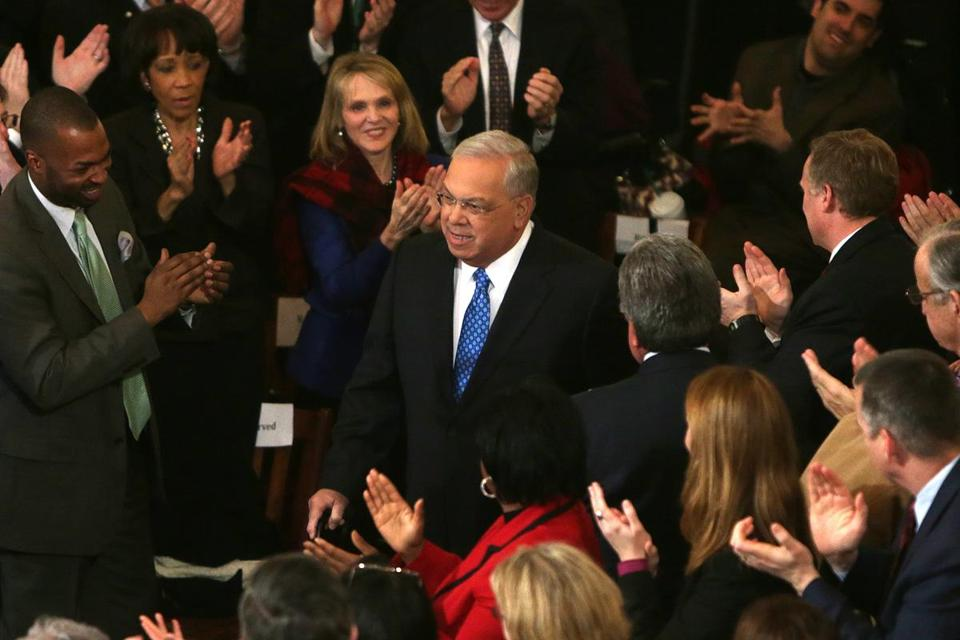 Boston Mayor Thomas M. Menino arrives for his annual State of the City address at Faneuil Hall Tuesday.