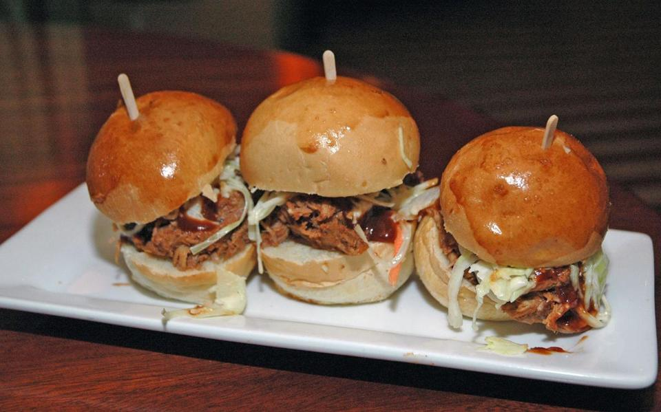Pulled pork sliders at Max & Dylans restaurant.