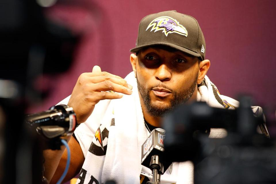 Ray Lewis was the center of attention at Super Bowl media day.