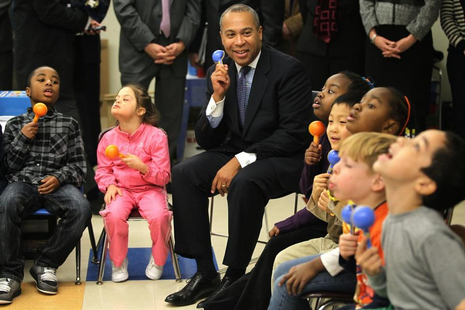After reading to a kindergarten class at Linden School in Malden last February, Governor Deval Patrick sat in on a music lesson for a P.A.C.E. class (Practical Academic Community Education).