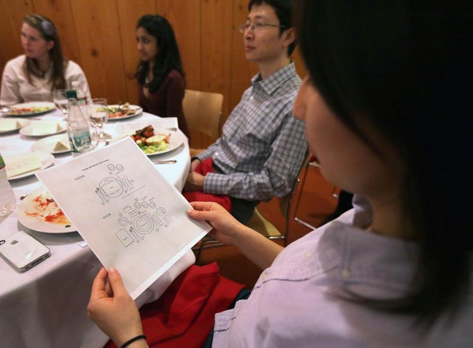 Student Lucy Zhao studied table settings at an MIT miniclass on enhancing social skills.