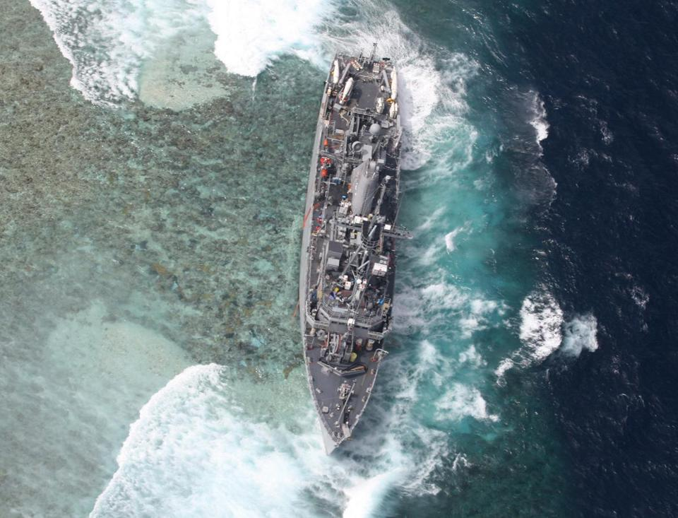 The USS Guardian suffered extensive damage after it hit Tubbataha Reef, a protected marine sanctuary, on Jan. 17.