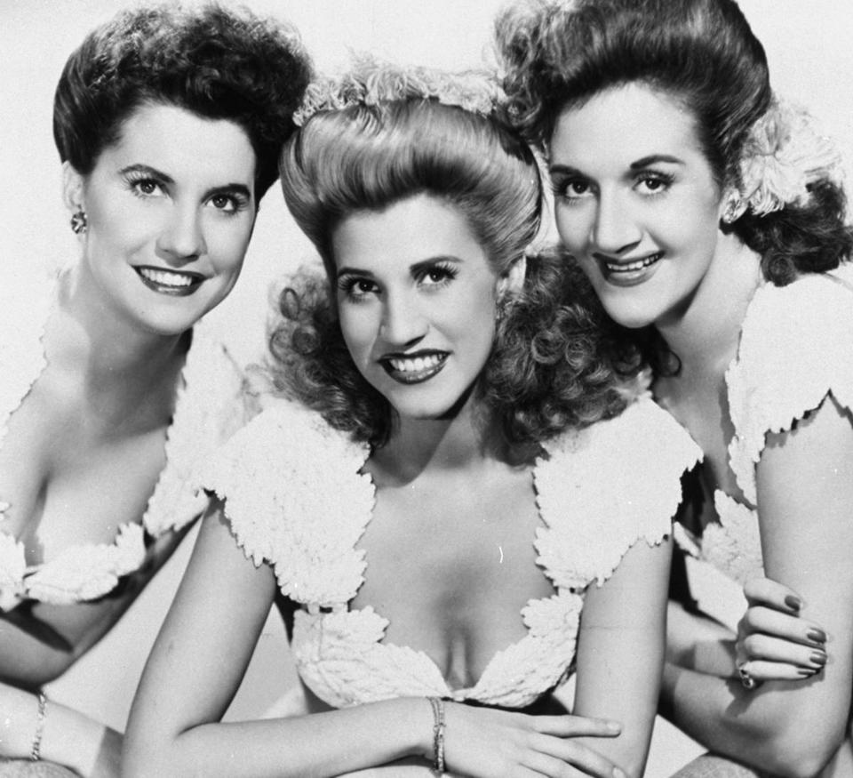 The Andrews Sisters, (from left) Maxene, Patty, and LaVerne, cut 400 songs and sold about 80 million records.