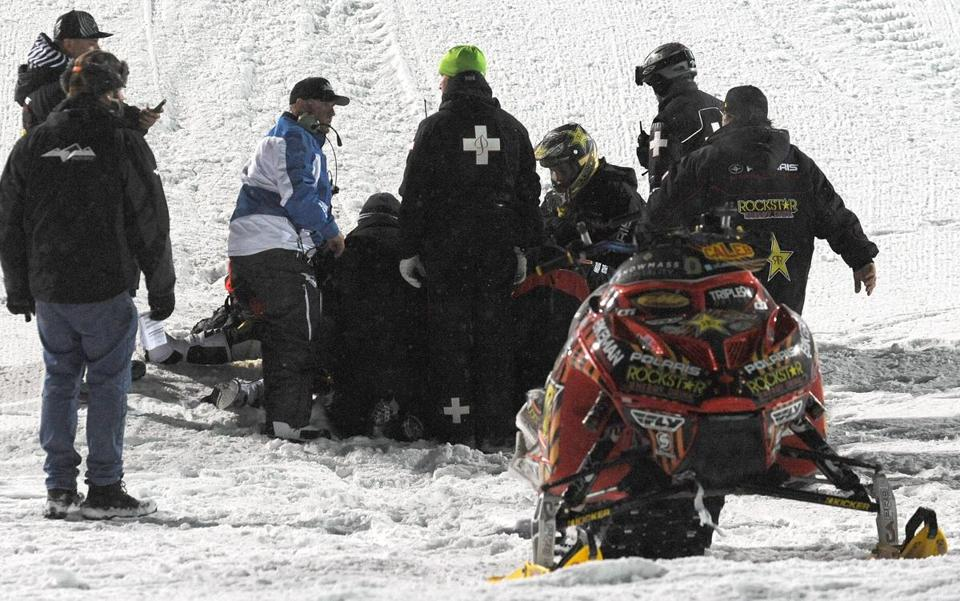 Emergency personnel tended to Caleb Moore after he crashed on Jan. 24.