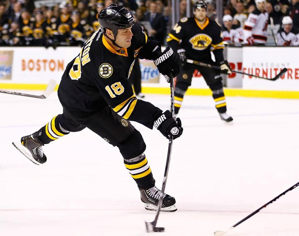 Nathan Horton has scored two of his three goals in the third period for the 5-0-1 Bruins, who have yet to lose in regulation.