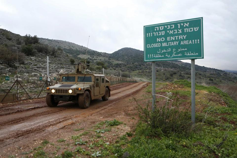 An Israeli military jeep near the Israel-Lebanon border. Israeli forces attacked a convoy in Syria on Wednesday.