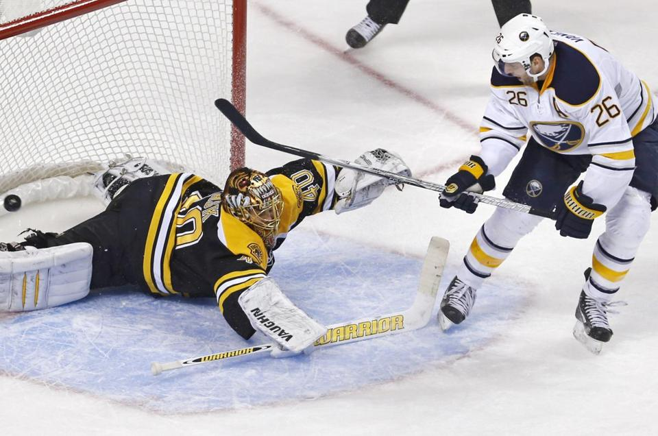Thomas Vanek had three goals and an assist against Tuukka Rask and the Bruins on Thursday night.
