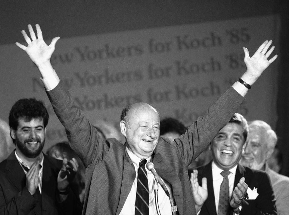 Mayor Koch celebrated another primary victory in 1985.