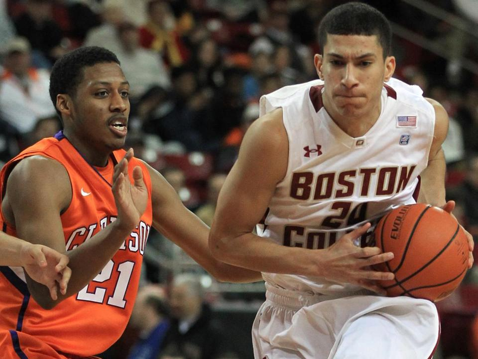 BC's Lonnie Jackson (14 points) looks determined to get around the defense of Clemson's Damarcus Harrison.