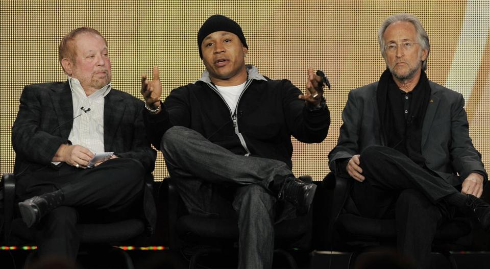 Grammy Awards executive producer Ken Ehrlich (left) and host LL Cool J recently in Pasadena, Calif.