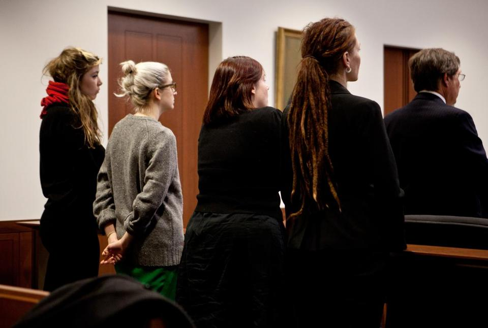 Occupy defendants (from left) Kerry McDonald, Brianne Milder, Andrea Hill, and Tammi Arford in court Monday.
