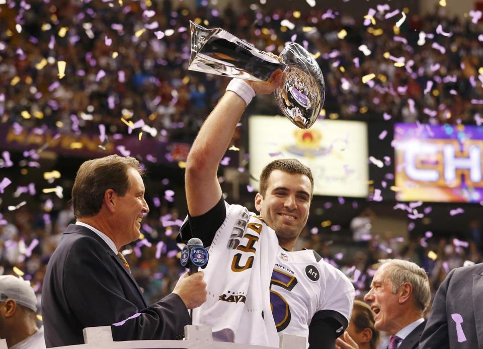 Ravens quarterback Joe Flacco won his first Super Bowl on Sunday against the 49ers.