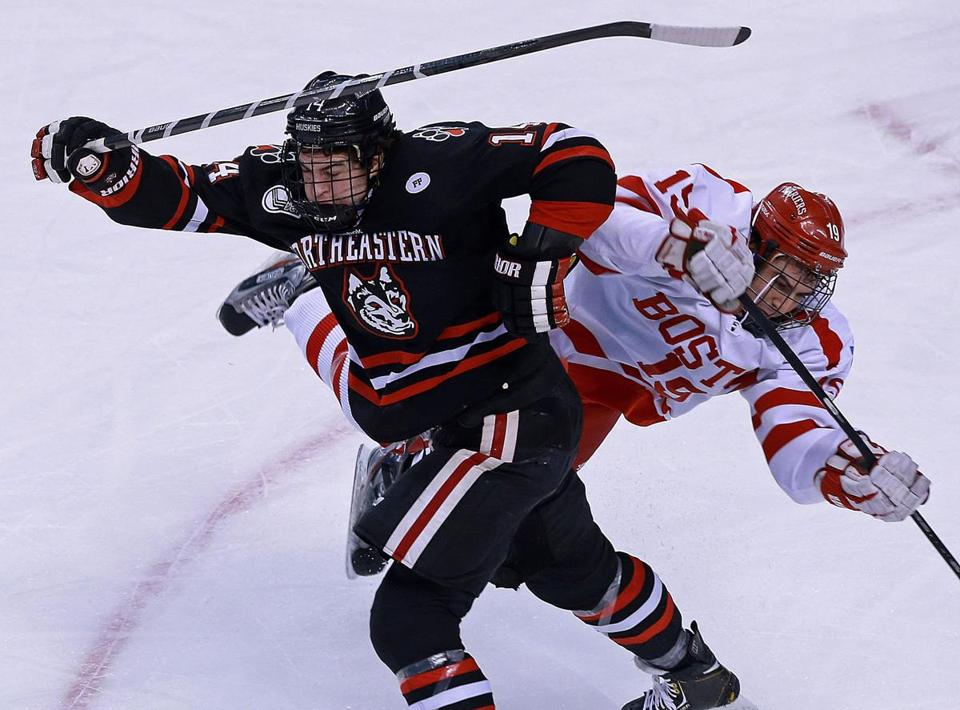 Braden Pimm (left) and Northeastern will seek to win the school's first Beanpot in 25 years on Monday.