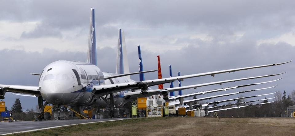 A group of Boeing 787 jets were parked in Everett, Wash., on Tuesday. Battery problems have grounded the 787.