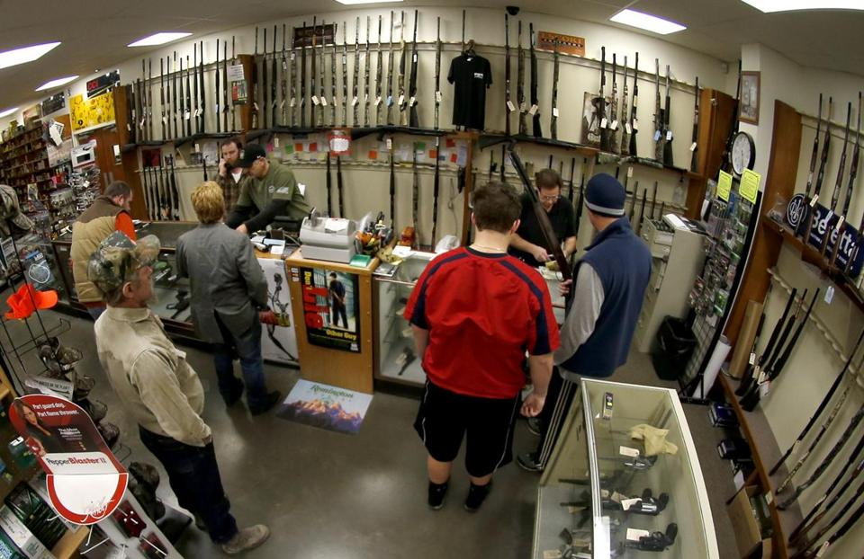 Gun buyers lined up last month at a store in New Castle, Pa. Gun sales had surged after the Newtown shootings.