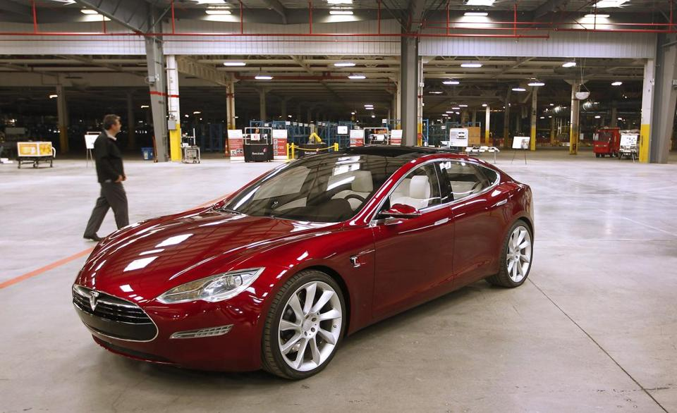 A Tesla Model S, displayed at the carmaker's California factory, can be seen but not purchased at the Natick Mall.