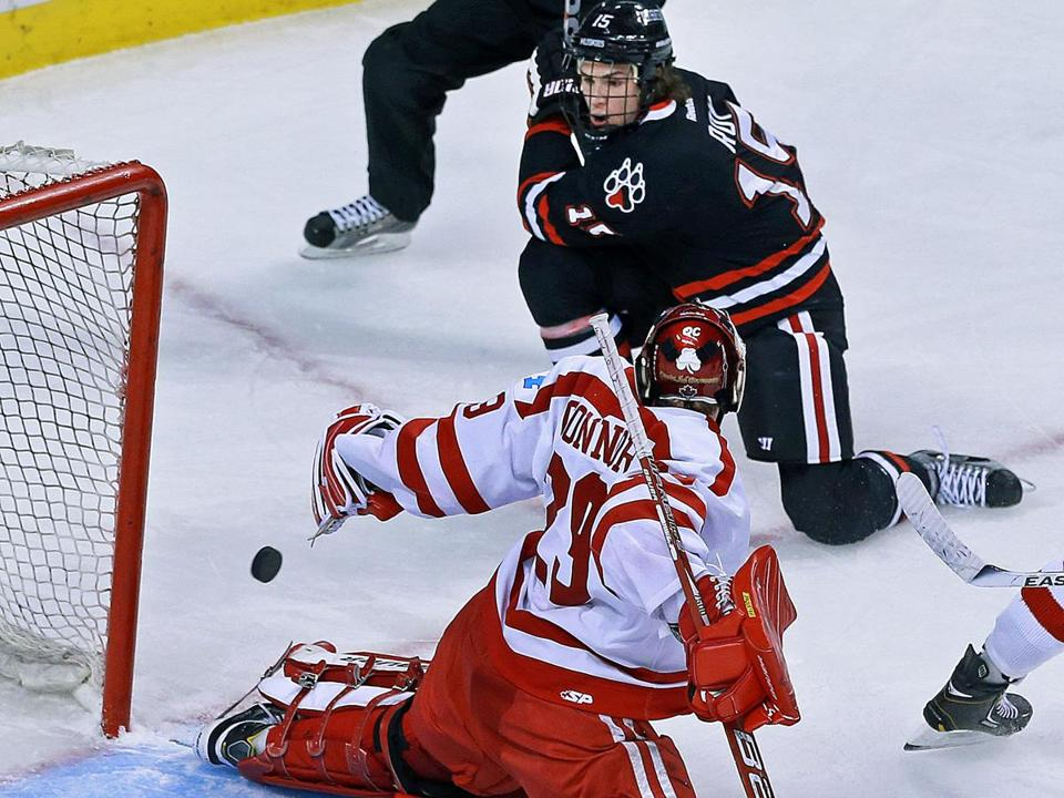 Kevin Roy's shot eluded Boston University goaltender Matt O'Connor in the third period to give Northeastern a 3-1 lead, and give him the hat trick.
