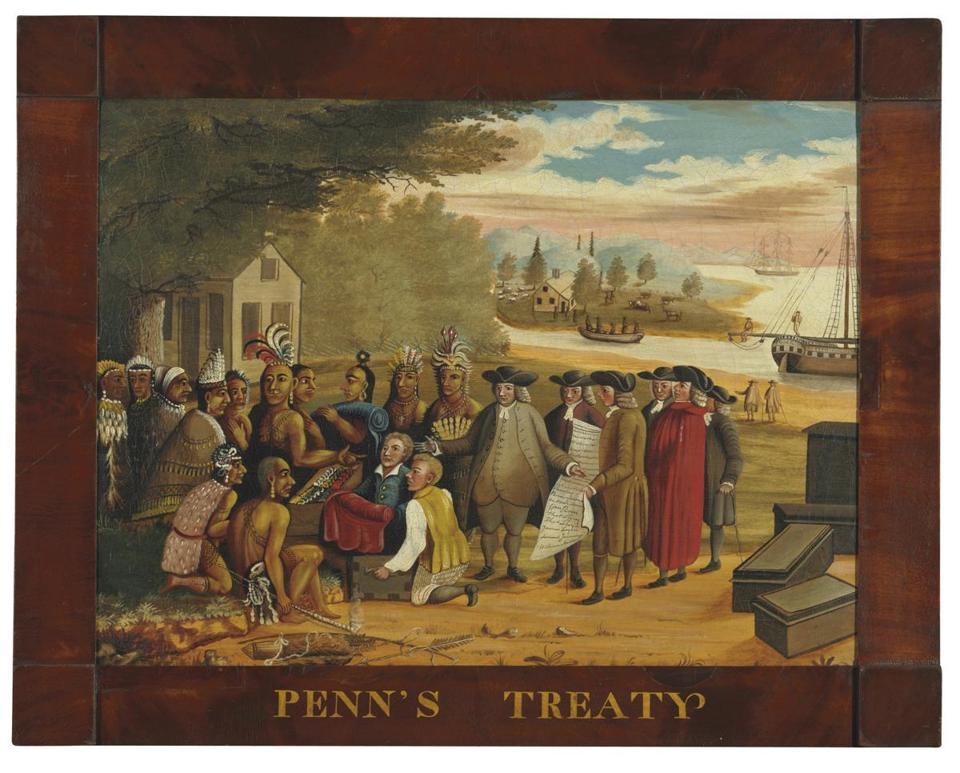 """Penn's Treaty,"" Edward Hicks's depiction of William Penn's treaty with the Delaware tribal chiefs, sold for $2.5 million at Christie's, the top price realized at the Americana Week auctions last month in New York. Circa 1770 Newport carved mahogany block-and-shell bureau table (far left) signed by John Townsend fetched $2.2 million at Christie's, the top price for a piece of furniture. Federal white-painted and parcel-gilt eglomise girandole wall clock signed by Lemuel Curtis of Concord sold at Christie's for $578,500. The circa 1770 Chippendale mahogany bonnet-top, block-front chest-on-chest (top right) attributed to Benjamin Frothingham of Charlestown sold at Sotheby's for $194,500."