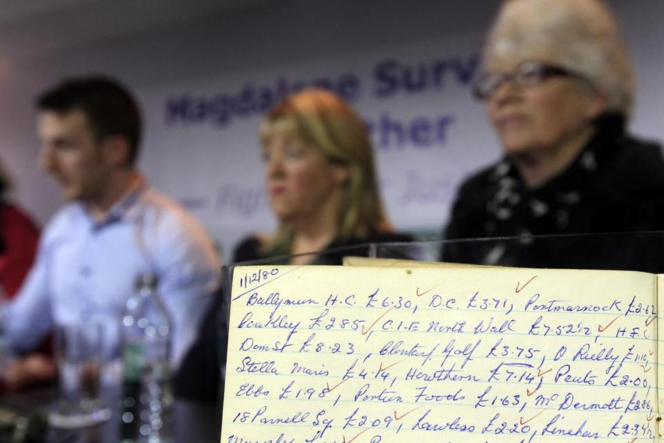 Magdalene Survivors Together held a press conference in Dublin on Tuesday. They displayed a laundry ledger.