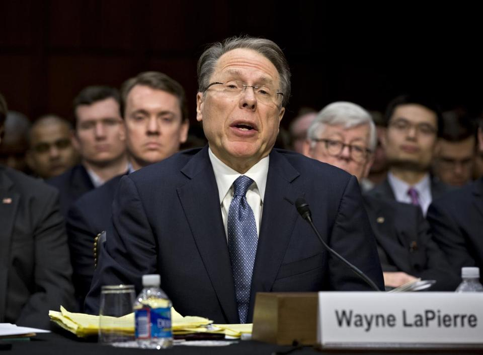 National Rifle Association CEO Wayne LaPierre testified last month before a Senate panel as supporters and opponents of stricter gun control measures faced off.
