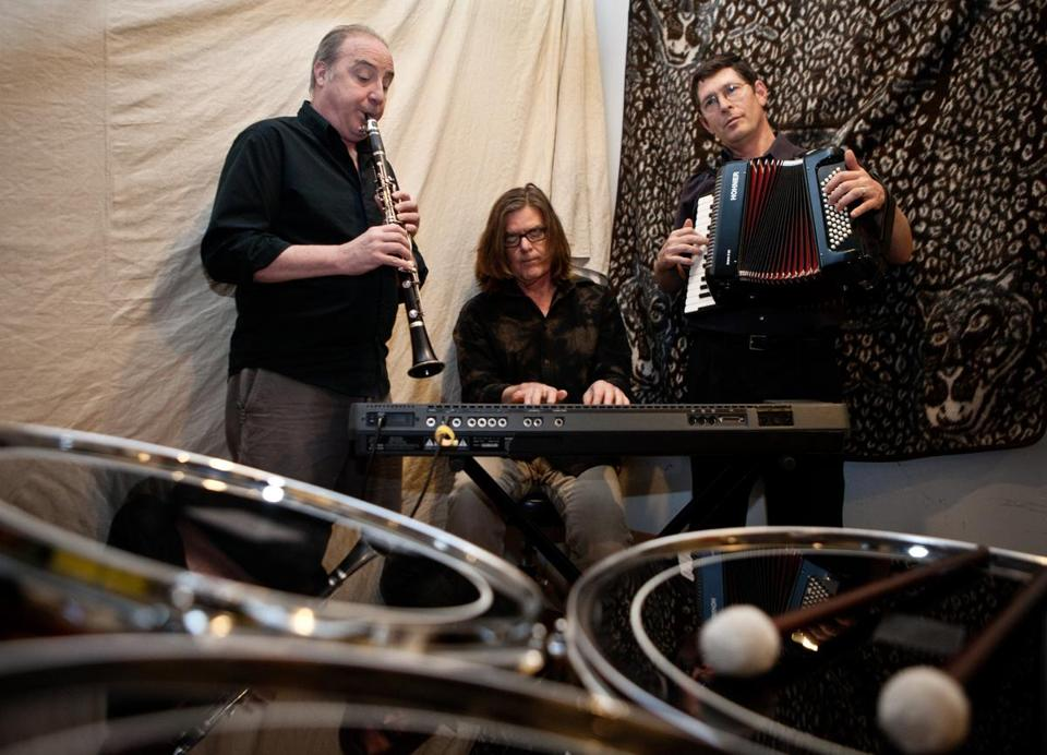 Percussionist-clarinetist Ken Winokur, keyboardist Roger C. Miller, and percussionist-accordionist Terry Donahue of Alloy Orchestra will accompany a triple bill of Buster Keaton shorts at the Somerville Theatre on Saturday.