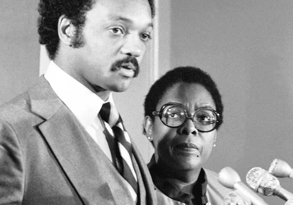 Cardiss Collins with Jesse Jackson at a Washington press conference in 1980.