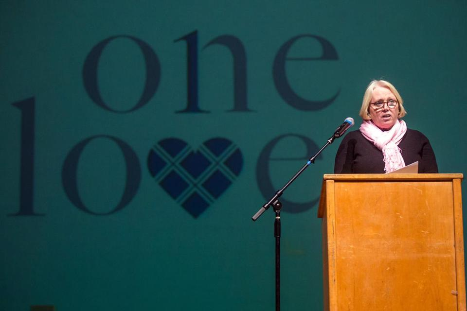 Sharon Love spoke to Melrose High School students about dating violence.