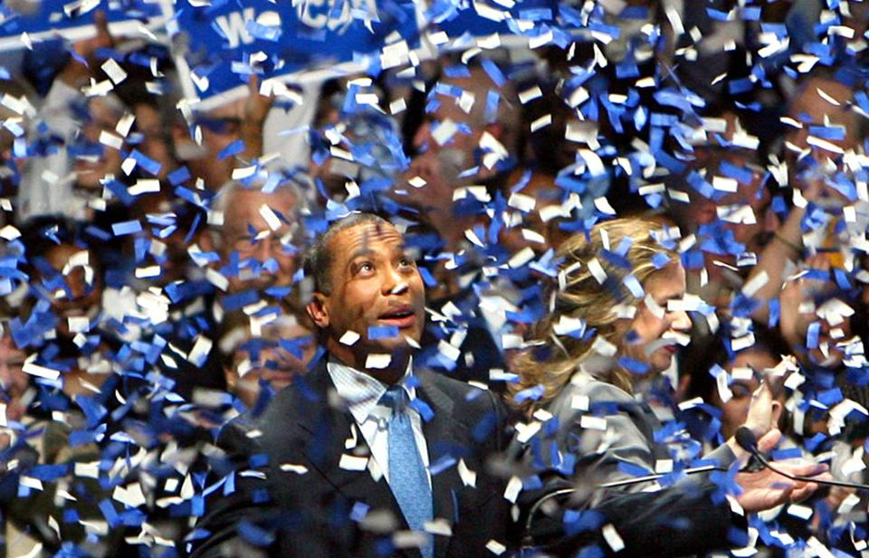 Governor Deval Patrick celebrates after his 2006 election.