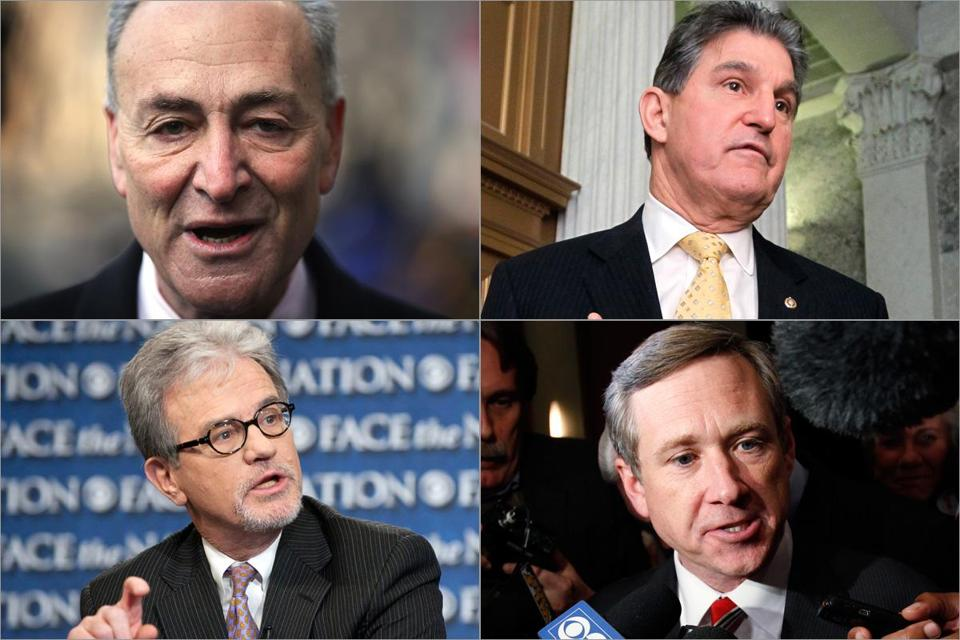 The four pursuing a compromise on expanding the requirement for checks are (from top left, clockwise) Democrats Chuck Schumer and Joe Manchin and Republicans Mark Kirk and Tom Coburn.